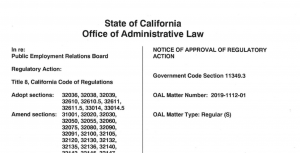 This is a screenshot of part of the Office of Administrative Law notice of approval of regulatory action.